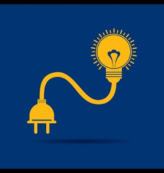 Abstract light-bulb with plug icon vector