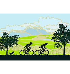 Cycling man silhouette poster vector