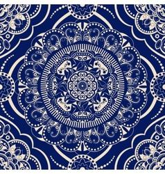Ornamental seamless pattern blue ethnic vector