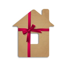 House from cardboard with ribbon and bow vector