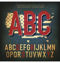 Retro alpahbet patriotic vector