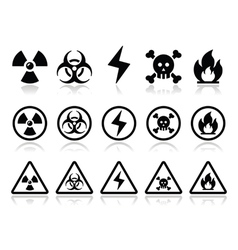 Danger attention icons set vector