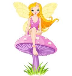 Cute fairy on the mushroom vector