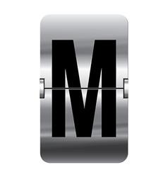 Alphabet silver flipboard letters m vector