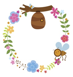 Floral wreath with bee and beehive vector