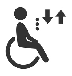 Disability man pictogram flat icon lift isolated vector