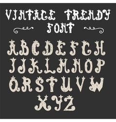 Hand drawn trendy font vintage alphabet vector