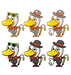 Flexibility as possible a sets of duck mascot vector