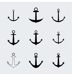 Set anchors icons vector