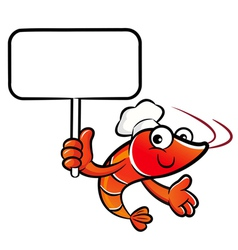 Shrimp chef the left hand is holding a picket vector
