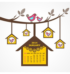 Calendar of january 2014 with birds sit on branch vector