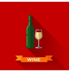 With a wineglass and a bottle of wine in flat vector