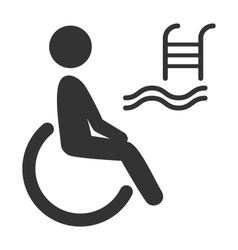 Disability man pictogram flat icon pool isolated vector