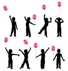 Children with balloons vector