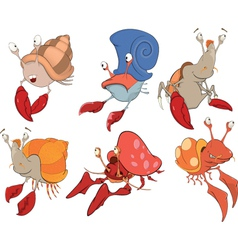 Set of crabs cartoon vector