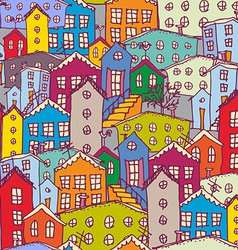 Cityscape seamless pattern sketch orange blue vector