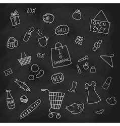 Set of shopping products goods elements vector