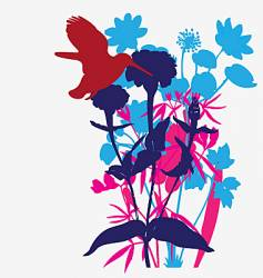 Designer flowers with tropical bird vector