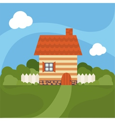 Cartoon house with garden vector