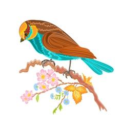 Birdie on a twig rosehip bushes vector