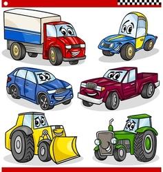 Funny cartoon vehicles and cars set vector