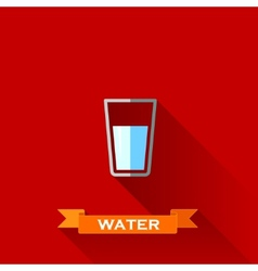 With a glass of water in flat design style with vector