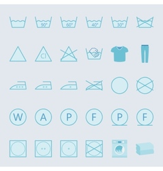 Washing and ironing clothes color flat icon set vector