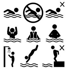 Set of summer swim water information flat people vector