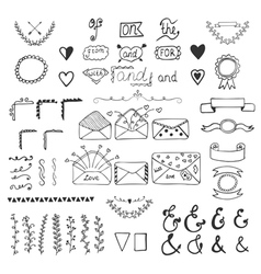 Handsketched design elements hand drawn ampersands vector