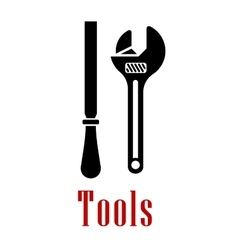 Adjustable wrench and rasp black icon vector
