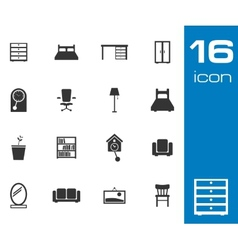 Black furniture icons set on white background vector