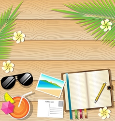 Summer background on wooden plank texture vector