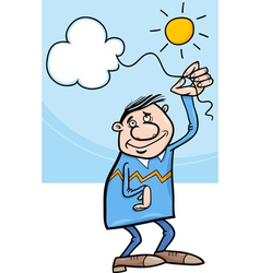 Man with cloud on string cartoon vector