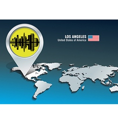 Map pin with los angeles skyline vector