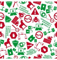 Computer security icons red and green pattern vector