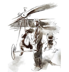 At the airport - postal plane with a pilot and vector