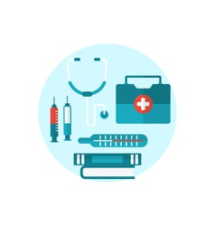 Set modern flat medical icons vector