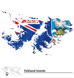 Map of falkland islands with flag vector