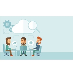 Three businessmen working together vector