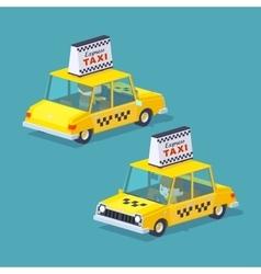 Cube world yellow taxi vector
