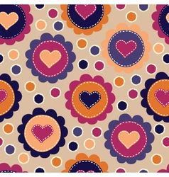 Seamless pattern with embroidered hearts vector