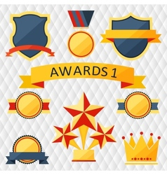 Awards and trophies set of icons vector