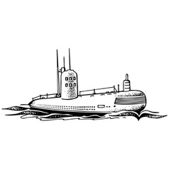 Nuclear powered submarine vector