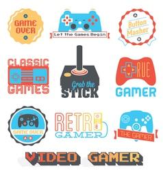 Retro video game shop labels vector