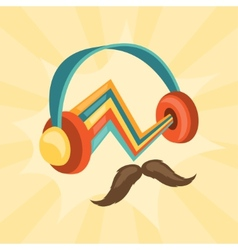 Design with headphones and mustache in hipster vector