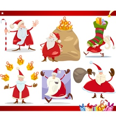 Santa claus and christmas cartoon set vector