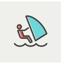 Wind surfing thin line icon vector