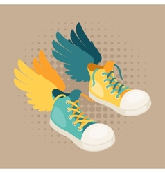 Design with sneakers and wings in hipster style vector
