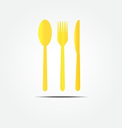 Spoon fork and knife gold set vector