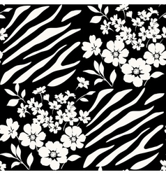 Seamless floral pattern with zebra stripes vector